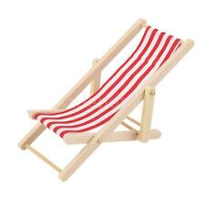 Red & White Striped Seaside Beach Deck Chair Dolls House Miniature Furniture
