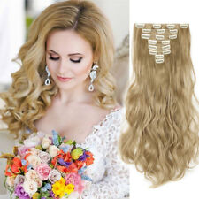 "100% Natural Clip in Hair Extensions 8 Pieces Full Headash blonde 24"" curly wavy"