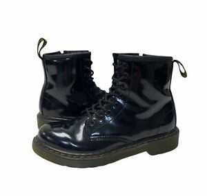 DR MARTENS Black Air Wair 1460 J Black Patent Leather Size 2 Boots DOC Side Zip