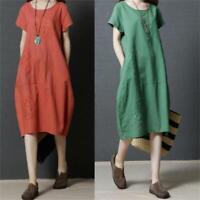 Korean Womens Casual Summer Floral Loose Cotton Linen Sundress Shirt Tunic Dress