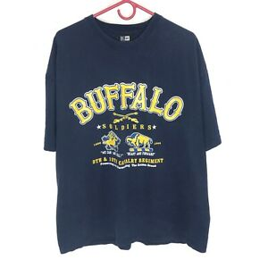 BUFFALO SOLDIERS T-shirt XL Blue Vintage 100% Cotton Double Sided Made in USA