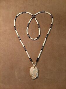 Eagle Totem Necklace, Imitation Bone, Glass Wampum Style Necklace Longhunter...