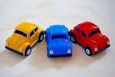"THREE 3 New Japan Vintage Metal Toy Friction 3"" Color Volkswagen Beatle Cars"