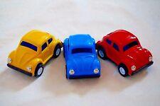 "THREE New JAPAN VINTAGE Metal Toy 3"" Friction Volkswagen Beatle Cars"