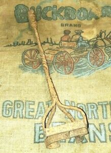 "Vintage Hand Forged Cattle Branding Iron ""HC"" Western Decor 19"""