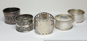 5 Antique Sterling Silver Assorted Napkin Ring Holders English and Gorham