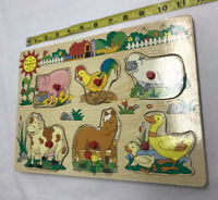 Frame Tray Puzzle Farm Animal Sound Barn Yard Livestock Toy Used