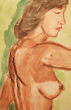 Vintage watercolor painting impressionist nude female portrait