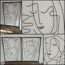 Wandobjekt Pica, Frau Metall Bilder Set schwarz Modern Bild Draht Wand Tattoo