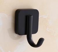 Black Square Stainless Steel Bathroom Single Robe Coat Hat Towel Hanger Hook