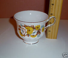 "Royal Vale Bone China Tea/Coffee Cup ""Yellow Floral Design"" Gold Trim - England"