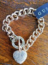Rhinestone Heart Guess Pendant Chain Necklace Choker Gold Tone Chunky Charm Foot