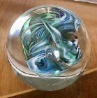 Signed Art Glass Paperweight Ice Blue Swirl BPS 94 Artist