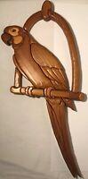 """Hand Carved Wood Parrot Wooden Figure Statue Folk Art Sculpture Figurine 22""""x11"""""""