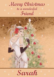 art deco A5 personalised Christmas card mum sister niece daughter friend name