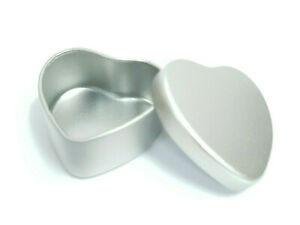 5x  Heart Shaped Candle Tin Silver 20ml Metal For WAX Soy Container  Tea Light