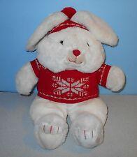 "16"" Vintage 1987 Mervyn's White Bunny Rabbit Plush Snowflake Knitt Sweater"