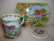 Oscar & Bromley Country Cottages  Mug and Coaster with Tray Set (Porcelain)