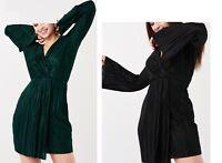 NEW LADIES WOMENS CRINKLE WRAPPED LONG SLEEVED DRESS RRP £25.00