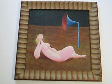 LARGE VINTAGE NUDE PAINTING SURREALISM MODERNISM WOMAN FEMALE MODEL 1960'S ART