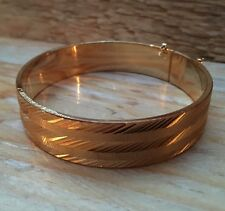 Vintage Gold Toned Hinged Bangle/Bracelet/Retro/Engraved/1950/60's/Engine Turned
