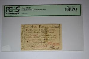 North Carolina December, 1771 £5 PCGS About New 53PPQ.