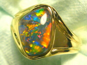 Mens Opal Ring 14ct Yellow Gold  Triplet Opal Free Form 14 x 10mm. item 150353.