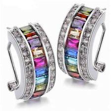 Womens Silver Rainbow Topaz Stud Dangle Hoop Wedding Earrings Party Fine Jewelry