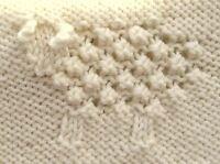 Textured Sheep Lamb Motif Baby Blanket Aran Wool - Knitting Pattern