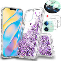For iPhone 12 Pro Max/12/Mini/Pro Shockproof Bling Case+Camera Lens Protector
