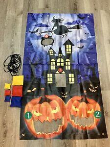 Halloween Bean Bag Toss Fun Game Hanging Banner Indoor And Outdoor 6 Bean Bags