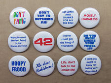 """Hitchhiker's Guide to the Galaxy 12 Button Set 1.25"""" Don't Panic, 42, Towel Etc."""