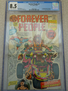 CGC 8.5 OW/W 1971 Forever People #1 DC Comics Superman Appearance