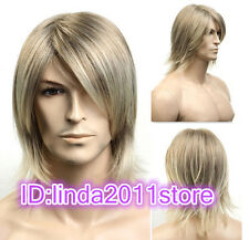 2019 Fashion Short blonde mix Man Men Wig Daily Natural Hair wigs + Free Wig cap