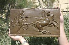 Ancient Chariot (biga) racing plaque, BRONZE, 480x280mm, 16kg