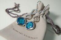 David Yurman 925 SilverBlue TOPAZ Continuance Infinity Drop Dangle Earrings