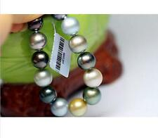 "7.5-8"" Gorgeous AAA+ 10-11mm natural south sea multicolor pearl bracelet 14k"