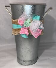 Galvanized Steel Metal Bucket Pail Pot with Flower and Bow Accents Decoration