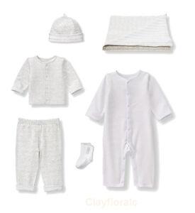 6 Janie & Jack Unisex boy girl Newborn Cardigan Pants 1 piece overall white grey