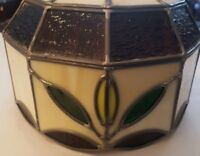 "Vintage Handmade Tiffany Style Stained Glass Lamp Light Shade 2.5"" Fitter"