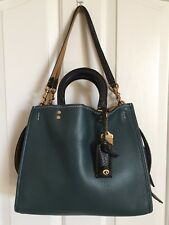 COACH 20315 *ROGUE* LEATHER SATCHEL SHOULDER BAG FOREST/ BLACK *EUC*