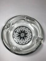 Vintage Mariners Compass Thick Glass Ashtray MCM Nautical Tobacciana Cigarette