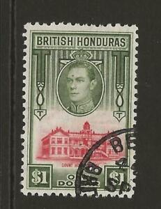 * BRITISH HONDURAS SG159 KGVI $1 High Value Fine Used Cat £15 UK P&P Free £1 WW