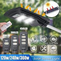 120/240/360W LED Wall Street Sensor Light Solar Panel Outdoor Garden Wall   L