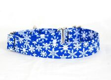 """1"""" Small (whippet) Martingale Dog Collar Snowflakes on Blue"""