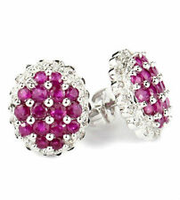 1.49ct Ruby cluster diamond earrings - 18K white gold EAR080003