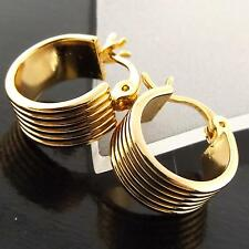 HOOP EARRINGS GENUINE REAL 18K YELLOW G/F GOLD SOLID CUTE GIRLS KIDS DESIGN