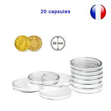 20 Capsules pour monnaie 22mm intérieur - Protection pour pièce de monnaie