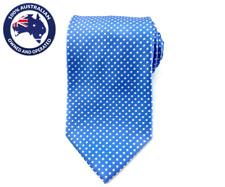 Men's Necktie Sky Blue with White Polka Dots 8.5CM Neck Ties Grooms Wedding Tie