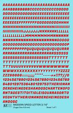 K4 HO Decals Red 3/16 Inch Modern Speed Letter Letter Number Alphabet Set